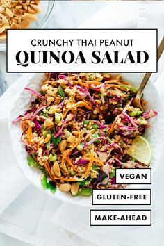 This Thai-flavored quinoa salad recipe is COLORFUL crisp and delicious! Its also vegan and gluten free. It's made with carrots cabbage snow peas and quinoa tossed in a delicious peanut sauce. It packs great for lunch! - March 16 2019 at Whole Food Recipes, Cooking Recipes, Keto Recipes, Healthy Recipes For One, Easy Healthy Vegetarian Recipes, Plant Based Dinner Recipes, Plant Based Meals, Easy Vegan Meals, Peanut Recipes