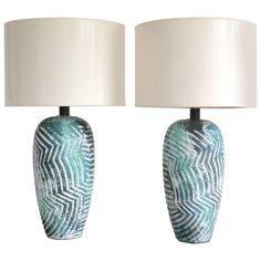 Pair of Graphic Post-Modern Ceramic Jar Form Table Lamps | 1stdibs.com