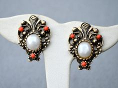 Faux Pearl Earrings Art Nouveau Style Vintage by HighClassHighway