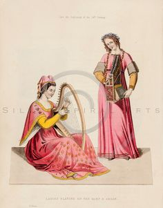 Vintage illustration of Women playing musical instruments from DRESSES & DECORATIONS OF THE MIDDLE AGES by Henry Shaw, 1843.  The natural age-toning, paper stains, and antique printing imperfections are preserved in this 1800s vintage stock image.