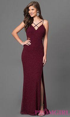 c072ce308b Burgundy Red Open-Back Prom Dress in Metallic Jersey