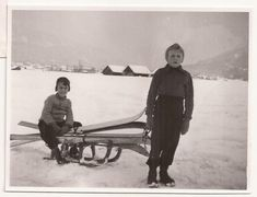 Snow Day, Winter Sports, Kids Playing in the Snow, Vintage Photograph, Sled Skis, Winter Clothing, Outside Winter Fun by BettywasaBombshell on Etsy