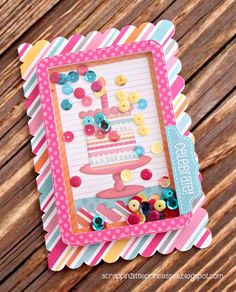Sugar Shoppe: Gift Bag & Card Set by Candace Bday Cards, Kids Birthday Cards, Handmade Birthday Cards, Greeting Cards Handmade, Happy Birthday, Scrapbook Cards, Scrapbooking, Spinner Card, Window Cards