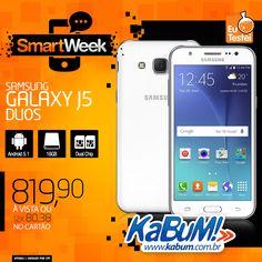 Se você quer um Samsung, mas não quer/pode gastar o preço de um top de linha, a linha J é uma opção intermediária. O preço tá legal, e você tem Android Lollipop, 16GB de espaço e dual chip.  Preço e onde comprar: R$820 - Branco - Kabum - http://www.kabum.com.br/link/184/66506 (O Kabum é o nosso parceiro oficial, compre com eles e incentive quem incentiva nosso trabalho!)  Confira outras ofertas na Smartweek do Kabum: http://kabum.com.br/smartweek