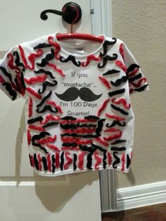 If you mustache...I'm 100 days smarter! 100th day of school shirt with 100 mustaches!