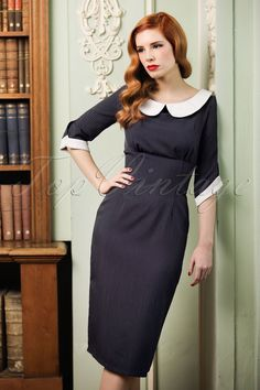 1940s Style Dresses and Clothing 40s Poise Pinstripe Pencil Dress in Navy £55.20 AT vintagedancer.com