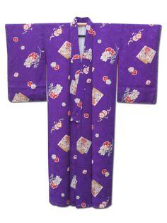 ☆ New Arrival☆ 'Silk Road' #purple #silk #vintage #Japanese #kimono with #floral pattern from #FujiKimono http://www.fujikimono.co.uk/fabric-japanese/silk-road.html