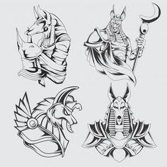 Set of anubis head Premium Vector Egyptian Symbol Tattoo, Egyptian Tattoo Sleeve, Egypt Tattoo, Egyptian Symbols, Egyptian Anubis, Egyptian Art, Drawing Stencils, Tattoo Stencils, Ozzy Tattoo