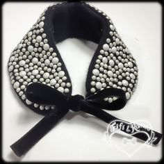 pearls on 100% recycled cashmere pet collar with double velvet ribbon tie