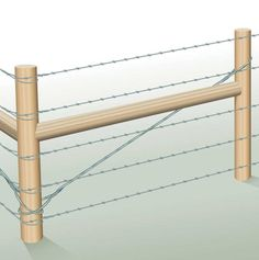 Strong braces, such as this two-post horizontal brace, are necessary for your fence to outlast any weight and stress put on it. Illustration by Len Churchill. From MOTHER EARTH NEWS magazine.