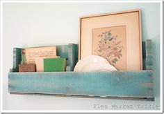 Pallet shelf- I love that these can fit anywhere, mantel counter top or hang.