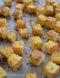 CORNBREAD Croutons for chili, soup, salads, etc. from Jiffy mix. Why didn't I think of this?
