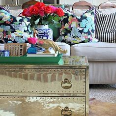 More than half of the furniture in our home is secondhand, and those are all my favorite pieces! Today on the blog for #myfivefavorites we're sharing our favorite thrifted finds, and you better believe this brass chest is one of mine! Click the direct link in my profile to see more of my choices, and stop by @pamsimpledetails @lisashineyourlight @drivenbydecor and our guest host thrifter extraordinaire @themakerista to see their fun finds, too! | SnapWidget