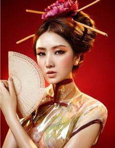chinese shiny asian dress - i love the mix of fabrics
