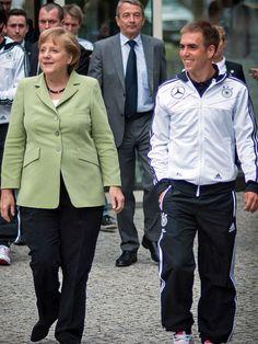 Begrüßte die Bundeskanzlerin: Kapitän Philipp Lahm  © Bongarts/GettyImages