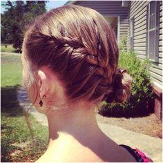 French braid with a braided side bun (: