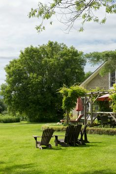 Adirondack chairs positioned for enjoying the wide, open views. (Photo: Jane Beiles for The New York Times)