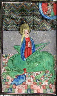 Margaret of Antioch and the dragon. Book of Hours 15th c., LPL MS 455, f.30v.
