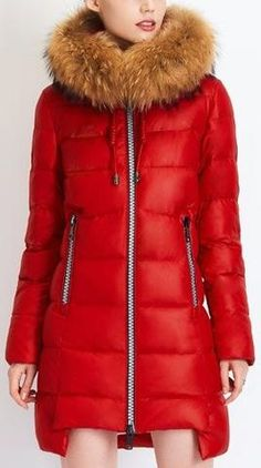 Asymmetric Paneled Puffer Down Coat with Fur Trim Hood in Red or White