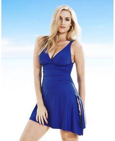 Marisota Women's Plus Size Magisculpt Convertible Swimdress in Blue
