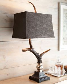 Stag Horn Antler Horn Table Lamp Masculine Rustic Lodge Ranch Horchow in Home & Garden, Lamps, Lighting & Ceiling Fans, Lamps Antler Lamp, Buffet Table Lamps, Table Lamp Shades, Farmhouse Chic, Home Accents, Floor Lamp, Neiman Marcus, Horn, Diy Home Decor