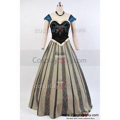 Disney Movie Frozen Anna Coronation Dress Cosplay Costume