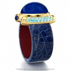 PREMIERE | Designer Leather Ring with Lapis Lazuli and Blue Zircon in Crocodile Leather Dark Blue and Supersoft Inside Leather Red