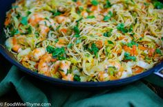 Stir-Fry Somen noodles with Cabbage and Shrimp.