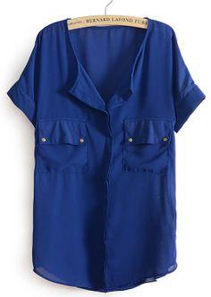 LIFE LINE GIRLS. WITH LIGHT BLUE JEANS!  Blue Short Sleeve Rivet Pockets Chiffon Blouse - Sheinside.com
