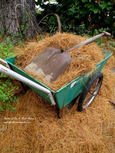 Mulch with Pine Straw! DIY ~ Tucking the garden in for the winter at Our Fairfield Home and Garden