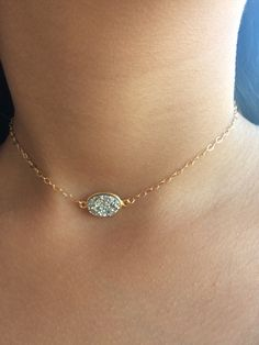 A personal favorite from my Etsy shop https://www.etsy.com/listing/493623727/druzy-necklace-choker14k-gold-filled
