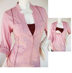 MEL Nursing Shirt / Maternity Clothes / Nursing Top / Breastfeeding Top / NEW Original Design PINK / Nursing Tops for Breastfeeding on Etsy, $33.00