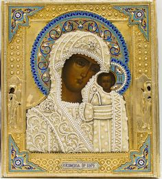 Kazan Mother of God, Russian (Moscow), c. 1896, oil on wood with silver-gilt repousse oklad with silver enamel and river pearls, 31 x 27.5 cm