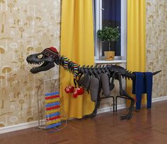 """If we heated with water, this would be a great excuse to have a large dinosaur sculpture in our home: it's a radiator (or """"thermosaurus"""" -- heh)."""