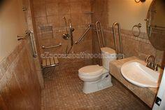 handicap accessible bathroom design for your home - The Application of Handicap Bathroom . Handicap Toilet, Handicap Bathroom, Ada Bathroom, Small Bathroom, Basement Bathroom, Bathroom Interior, Master Bathroom, Wheelchair Accessible Shower, Wheelchair Ramp