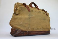 vintage workwear: Vintage 1940's-1950's BELL SYSTEM Canvas & Leather Tool Bags