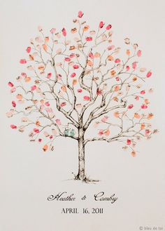 Guest book fingerprint tree, MEDIUM jacarenda (drawing with 1 ink pad). $136.00, via Etsy.