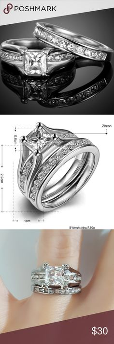 Stainless Steel Princess Cut Engagement | Wedding -Brand New!!! -Beautiful Stainless Steel Princess Cut Engagement Wedding Ring  -AAA Grade Cubic Zircon Stone -Will Not Change Color Or Tarnish  THANK YOU FOR SHOPPING WITH ME!!! PLEASE FEEL FREE TO ASK ANY QUESTIONS  SAME DAY OR NEXT DAY SHIPPING  CLEAN & SMOKE FREE HOME    NO WORRIES: ALL SALES & ITEMS WILL BE RECORDED TO PROTECT BOTH PARTIES  REASONABLE OFFERS WELCOME OFFERS ACCEPTED THROUGH THE OFFER BUTTON ONLY -ENJOY ♡ Jewelry Rings