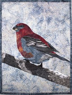 Pine Grosbeak Art Quilt Pattern by Lenore by LenoreCrawford