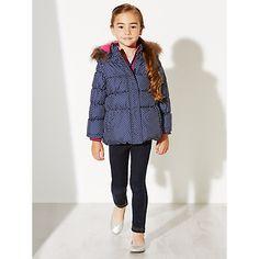 Buy Navy John Lewis Girl Polka Dot Padded Coat, Navy from our Girlswear Offers range at John Lewis & Partners. Navy Online, 2 In, John Lewis, Contrast, Polka Dots, Zipper, Coats, Sleeves, Stuff To Buy