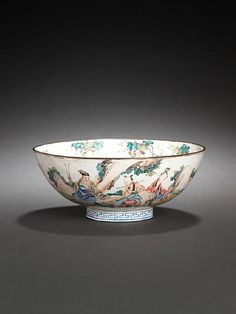 A famille rose Canton enamel 'Eight Immortals' bowl, 18th century