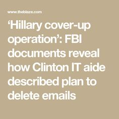'Hillary cover-up operation': FBI documents reveal how Clinton IT aide described plan to delete emails