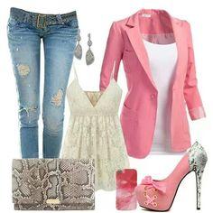 Like the pink blazer