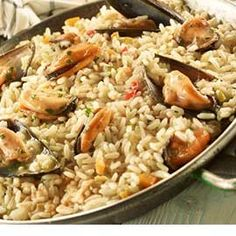Food Network Recipes, Food Processor Recipes, Cooking Recipes, Salsa Verde, The Kitchen Food Network, Rice Ingredients, Mussels, Greek Recipes, Fish And Seafood