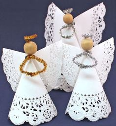 Make this easy angel crafts doily paper angel faster than it takes to read the instructions. The fun and easy project only needs two paper doilies, a wooden bead, a chenille wire and some tape. Christmas Angel Crafts, Creative Christmas Trees, Kids Christmas, Holiday Crafts, Christmas Decorations, Christmas Ornaments, Christmas Poinsettia, Crochet Christmas, Birthday Decorations