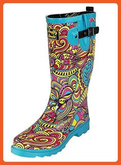 Buffy Boots Women's Groovy Gal Rubber Rain Boots, Multicolor, 9 - Boots for women (*Amazon Partner-Link)