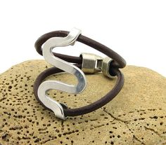 FREE SHIPPING.Handmade unique brown leather women's bracelet with silver plated clasp.