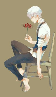 Kaneki kun with his flower ♡