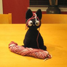 The adorable Jiji the cat from the movie Kiki's Delivery Service! Based on the pattern Jiji by Christine Wang from KISS - The Home Hub. Altered and posted as a new pattern with the author's permission.