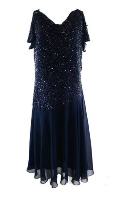 J Kara NEW Blue Shimmer-Sequin Women's Size 14W Plus Sheath Dress $188 DEAL